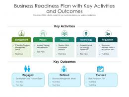 Business Readiness Plan With Key Activities And Outcomes