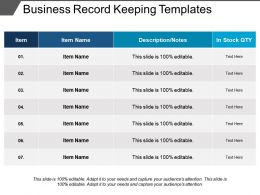 Business Record Keeping Templates