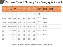 Business Record Showing Date Category And Amount