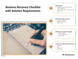 Business Recovery Checklist With Solution Requirements