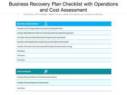 Business Recovery Plan Checklist With Operations And Cost Assessment