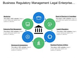 Business Regulatory Management Legal Enterprise Governance With Icons