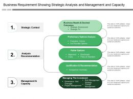 Business Requirement Showing Strategic Analysis And Management And Capacity