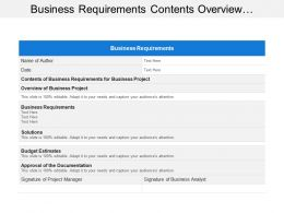 Business Requirements Contents Overview Performance Solutions Budget Approval