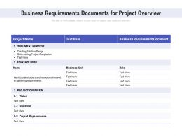 Business Requirements Documents For Project Overview