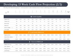 Business Retrenchment Strategies Developing 13 Week Cash Flow Projection Ppt Styles