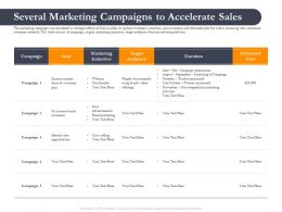 Business Retrenchment Strategies Several Marketing Campaigns To Accelerate Sales Ppt Slides