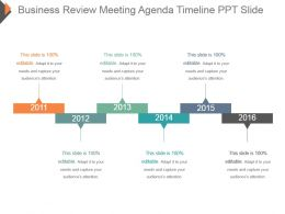 Business Review Meeting Agenda Timeline Ppt Slide