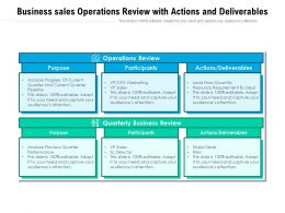Business Sales Operations Review With Actions And Deliverables