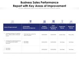 Business Sales Performance Report With Key Areas Of Improvement