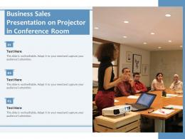 Business Sales Presentation On Projector In Conference Room