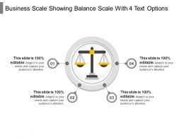 Business Scale Showing Balance Scale With 4 Text Options