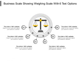 Business Scale Showing Weighing Scale With 6 Text Options