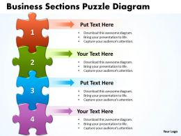 Business Sections Puzzle Diagram Powerpoint templates 0812