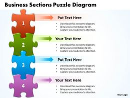 Business Sections Puzzle Diagram Powerpoint templates ppt presentation slides 0812