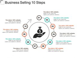 Business Selling 10 Steps Powerpoint Slide Clipart