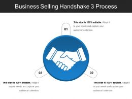 Business Selling Handshake 3 Process Powerpoint Slide Themes