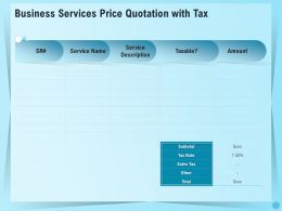 Business Services Price Quotation With Tax Ppt File Aids
