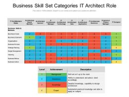 Business Skill Set Categories It Architect Role