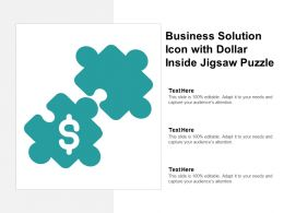 Business Solution Icon With Dollar Inside Jigsaw Puzzle