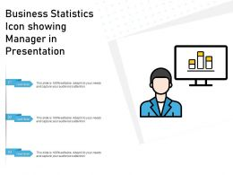 Business Statistics Icon Showing Manager In Presentation