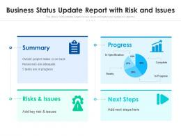 Business Status Update Report With Risk And Issues