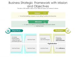 Business Strategic Framework With Mission And Objectives