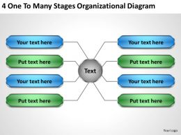 Business Strategy 4 One To Many Stages Organizational Diagram Powerpoint Slides 0523