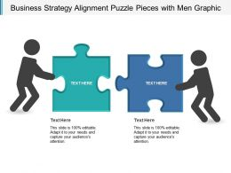 Business Strategy Alignment Puzzle Pieces With Men Graphic
