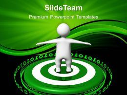 Business Strategy And Policy Templates Man On Green Target Ppt Slides Powerpoint