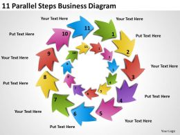 Business Strategy Consultant 11 Parallel Steps Diagram Powerpoint Templates PPT Backgrounds For Slides