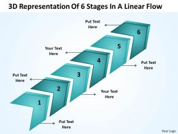 Business Strategy Consulting 3d Representation Of 6 Stages Linear Flow Powerpoint Slides 0522
