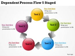 Business Strategy Dependent Process Flow 5 Staged Powerpoint Templates PPT Backgrounds For Slides 0523