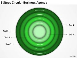 Business Strategy Diagram 5 Steps Circular Agenda Powerpoint Templates