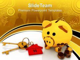 Business Strategy Formulation Templates Golden Piggy Bank Keys Growth Ppt Slides Powerpoint