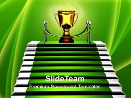 Business Strategy Game Templates Stairs With Trophy Success Company Ppt Powerpoint