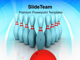 Business Strategy Game Tips Powerpoint Templates Bowling Teamwork Ppt Slides