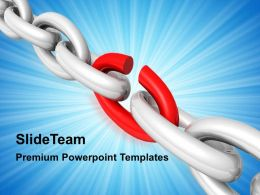 Business Strategy Implementation Powerpoint Templates Broken Chain Ppt Slides