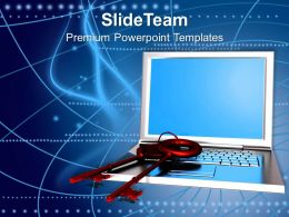 Business Strategy Innovation Laptop With Pair Of Keys Security Process Ppt Slide Powerpoint