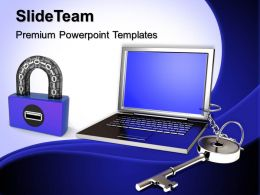 Business Strategy Innovation Templates Laptop And Key Chain Security Editable Ppt Slides Powerpoint