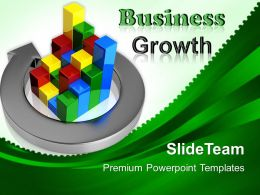 Business Strategy Planning Templates Arrow Around Bar Graph Ppt Slides Powerpoint