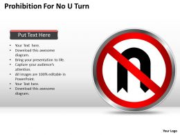 Business Strategy Prohibition For No Turn Powerpoint Templates 0528