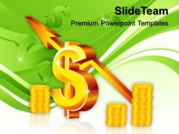 Business Strategy Review Powerpoint Templates Dollar With Up Arrow Success Ppt Slides