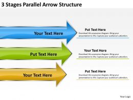 Business Structure Diagram 3 Stages Parallel Arrow Powerpoint Slides