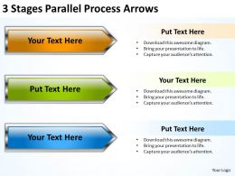Business Structure Diagram 3 Stages Parallel Process Arrows Powerpoint Slides