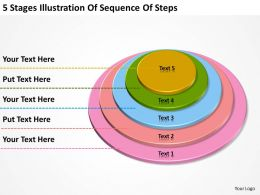 Business Structure Diagram 5 Stages Illustration Of Sequence Steps Powerpoint Templates