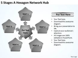 Business Structure Diagram Hexagon Network Hub Powerpoint Templates PPT Backgrounds For Slides