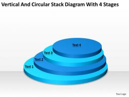 Business Structure Diagram Vertical And Circular Stack With 4 Stages Powerpoint Templates