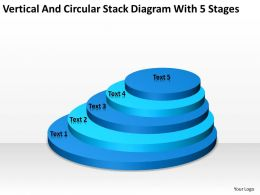Business Structure Diagram Vertical And Circular Stack With 5 Stages Powerpoint Templates