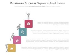 Business Success Square And Icons Diagram Powerpoint Slides